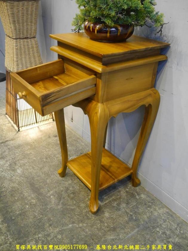 限量新品柚木全實木39公分單抽花台 收納桌置物桌擺飾架 4