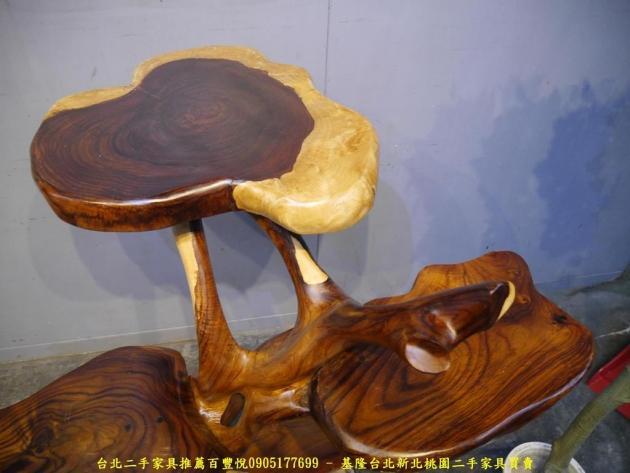 二手雨豆木原木造型擺飾架 實木花台花架收納架置物架 3