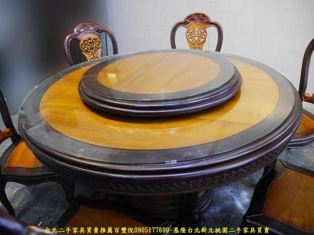 二手全實木一桌六椅圓型餐桌椅 柚木加黑檀客廳會客吃飯桌椅 2