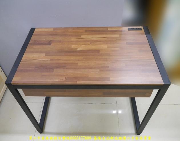 二手工業風積層木91公分單抽書桌 電腦桌 置物桌 學生桌 寫字桌 工作桌 2