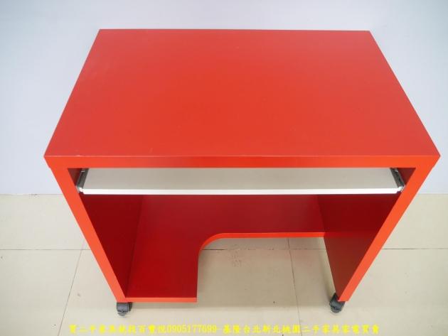 二手普普風紅白77公分電腦桌 工作桌 辦公桌 書桌 學生桌 寫字桌 3