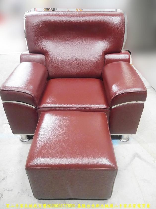 二手沙發二手單人沙發硬牛皮酒紅色皮沙發單人椅 辦公沙發 會客沙發 1