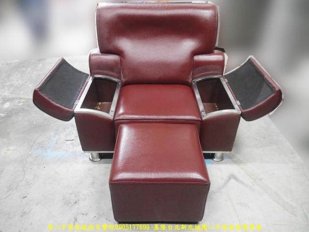 二手沙發二手單人沙發硬牛皮酒紅色皮沙發單人椅 辦公沙發 會客沙發 4