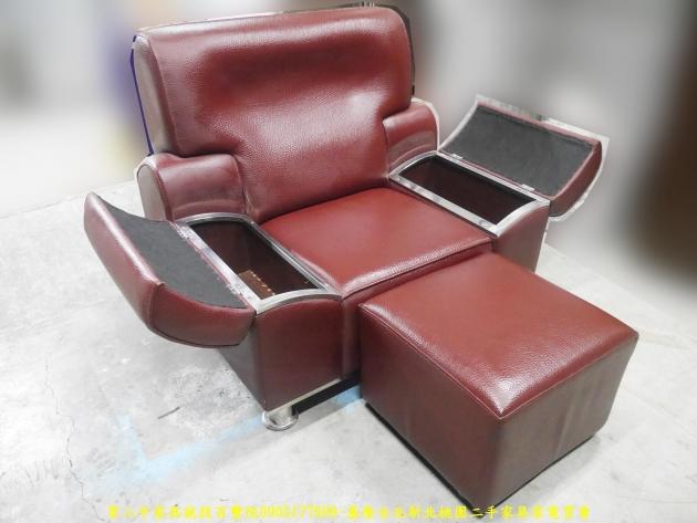 二手沙發二手單人沙發硬牛皮酒紅色皮沙發單人椅 辦公沙發 會客沙發 5