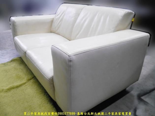二手沙發二手雙人沙發米白色160公分半牛皮沙發 會客沙發 等候沙發 4