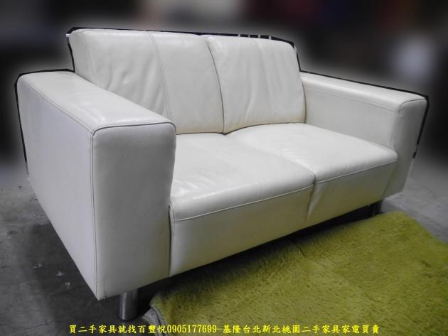 二手沙發二手雙人沙發米白色160公分半牛皮沙發 會客沙發 等候沙發 5