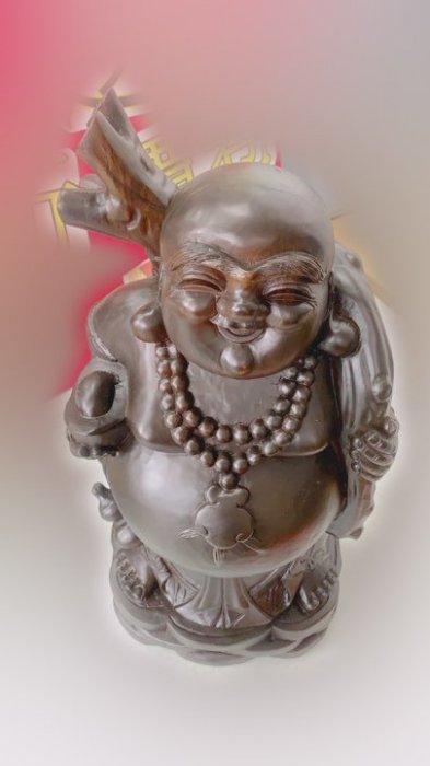 印尼黑檀彌勒佛木雕藝術品 擺飾品裝飾品招財進寶 1
